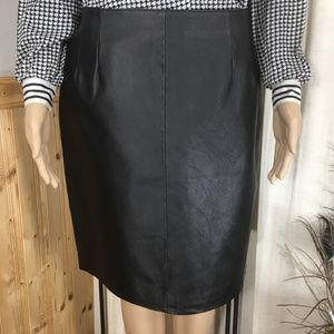 Vintage Clio Black Leather Pencil Skirt